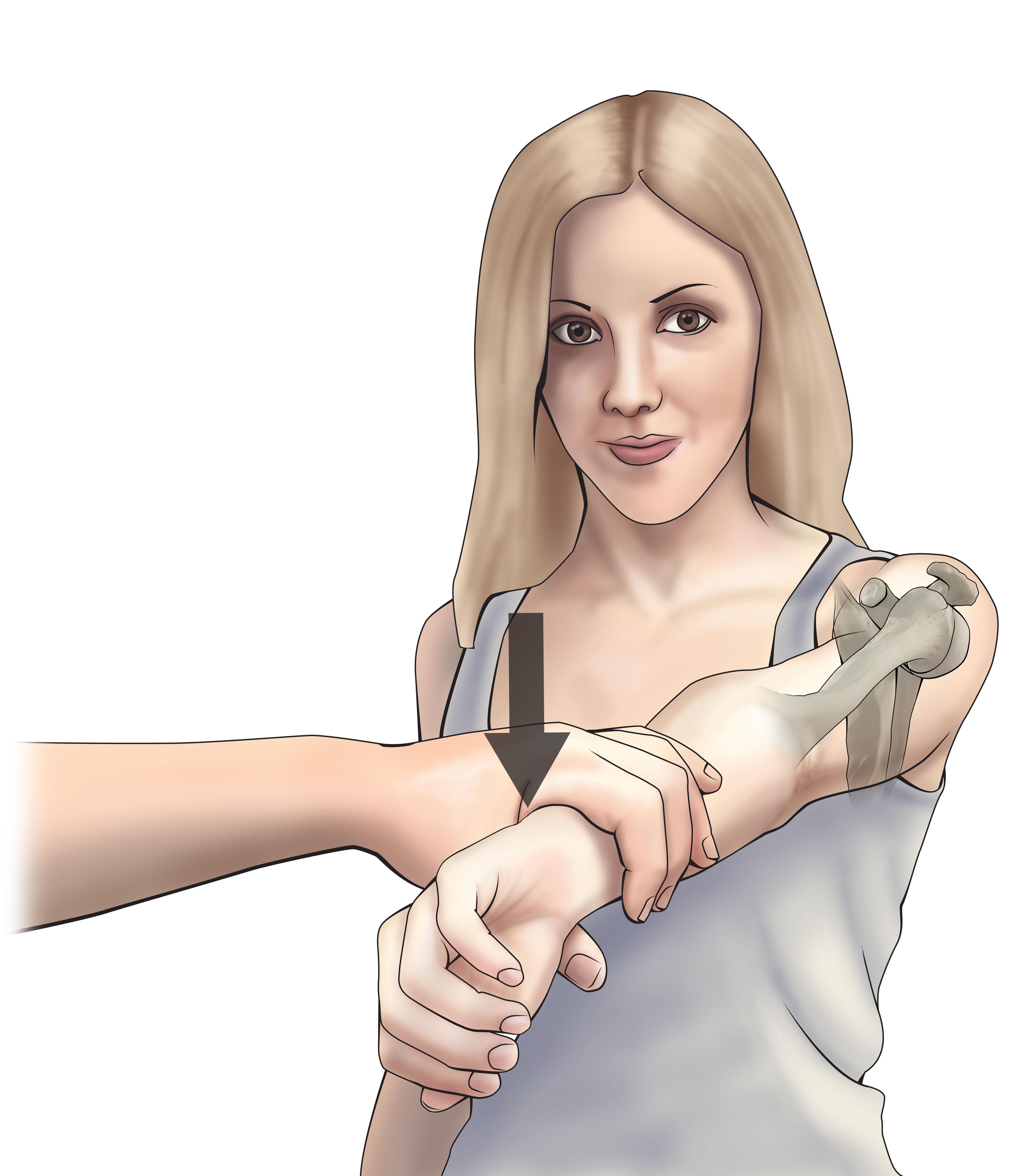 Diagnostics tests Wrightington test for shoulder Medical illustration