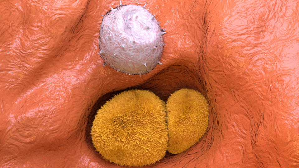 Macrophage in lungs SEM image medical illustration